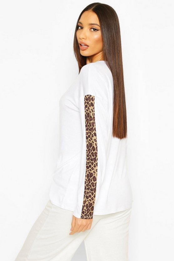 Tall Leopard Print Trim T-Shirt