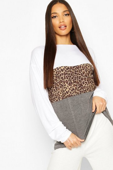 Womens White Tall Leopard Print Contrast T-Shirt
