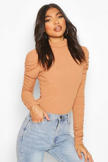 Camel Tall Roll Neck Ruched Sleeve Rib Jumper