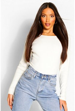 Cream Tall Fine Rib Crew Neck Jumper