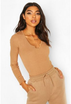 Toffee Tall Notch Neck Rib Bodysuit