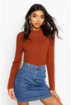 Terracotta Tall High Neck Rib Jumper