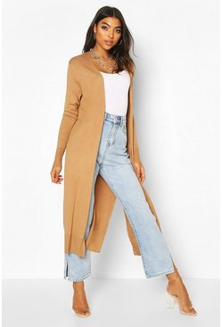 Toffee Tall Fine Knit Maxi Cardigan