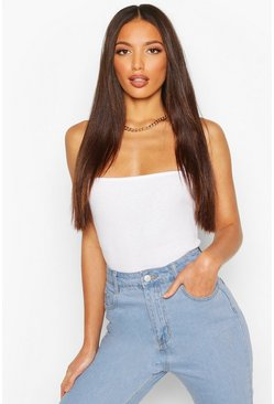 White Tall Square Neck Basic Bodysuit
