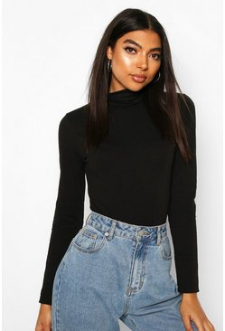Black Tall Roll Neck Bodysuit