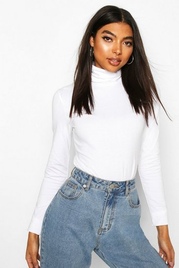 White Tall Roll Neck Bodysuit