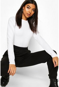 White Tall Crew Neck Bodysuit
