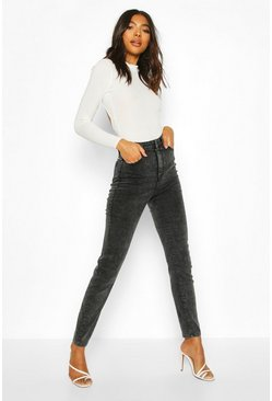 Tall Super High-Waisted Skinny Jeans, Verwaschenes schwarz