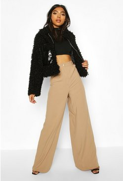 Stone Tall Woven Extreme Wide Leg Trousers