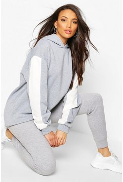 Grey Tall Side Stripe Oversized Hoody