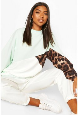 Mint Tall Leopard Colour Block Sweat
