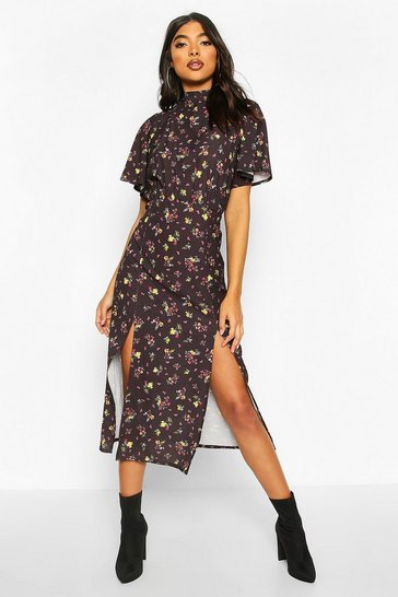Black Tall Floral Angel Sleeve Midi Dress
