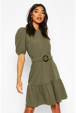 Khaki Tall Belted Frill Hem Shift Dress