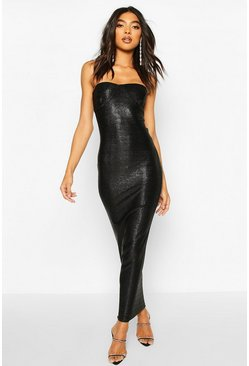Womens Black Tall Glitter Cup Detail Midaxi Dress
