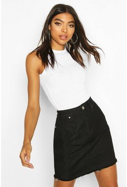 Tall Fray Hem Denim Skirt, Washed black