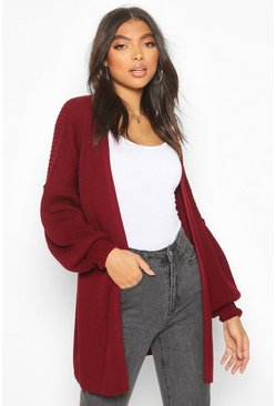 Berry Tall Bell Sleeve Knitted Cardigan