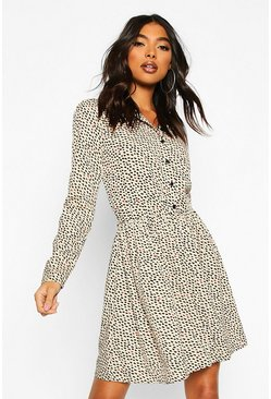 Tall Smudge Print Shirt Dress, Stone