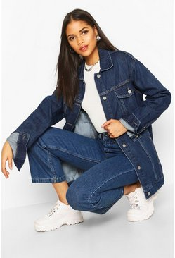 Tall Oversized Denim Jacket, Dark blue