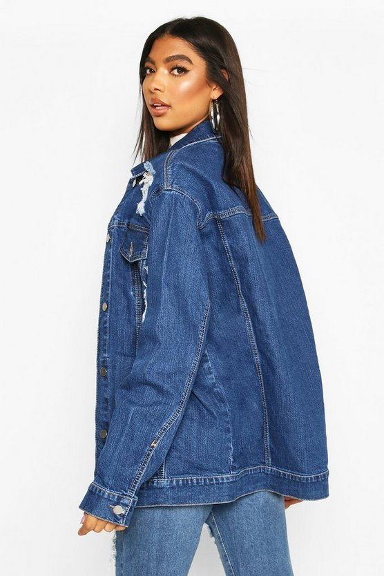 Tall Oversized Distressed Denim Jacket