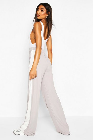 Grey Tall Side Stripe Wide Leg Joggers