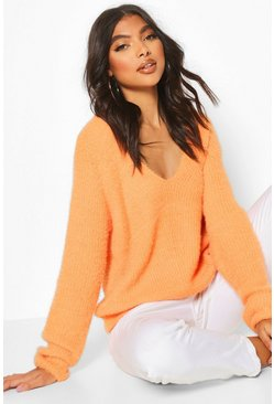 Tall Fluffy Knit V Neck Jumper, Apricot