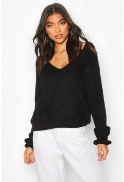 Black Tall Fluffy Knit V Neck Jumper