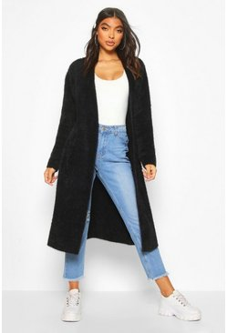 Black Tall Fluffy Oversized Cardigan
