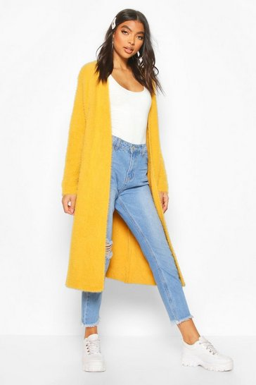 Gold Tall Fluffy Oversized Cardigan