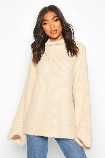 Cream Tall Fluffy High Neck Jumper