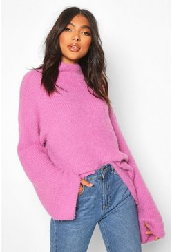 Tall Fluffy High Neck Jumper, Lilac