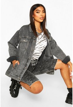 Grey Tall Washed Oversized Denim Jacket