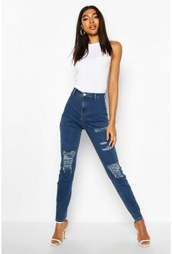 Tall Distressed Skinny Jeans, Indigo