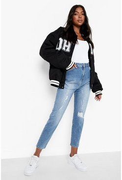 Tall Distressed Mom Jeans, Mid blue