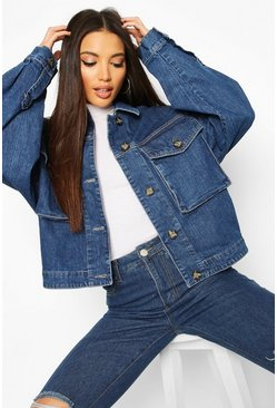 Dam Mid blue Tall Mock Horn Button Denim Jacket