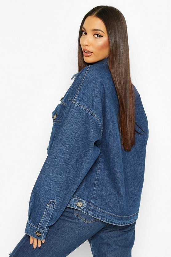Tall Mock Horn Button Denim Jacket
