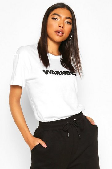 White Tall 'Warning' Slogan T-Shirt