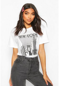 Tall New York Skyline T-Shirt, White