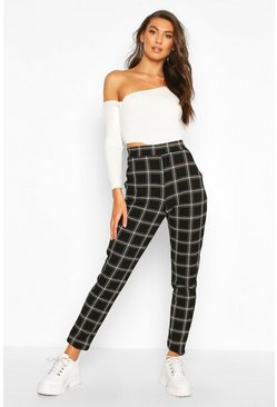 Womens Black Tall Check Skinny Trousers
