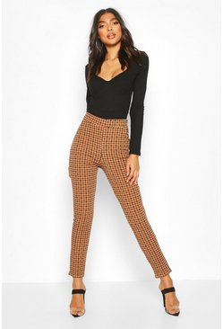 Womens Brown Tall Check Skinny Trousers