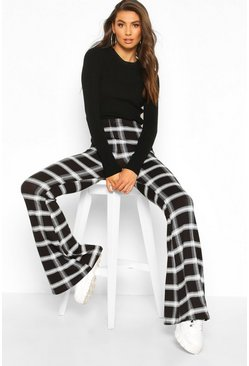 Womens Black Tall Check Flares