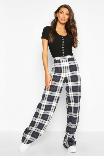 Womens Navy Tall Check Wide Leg Trousers