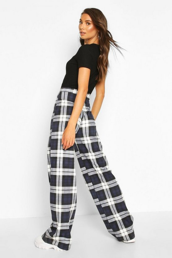 Tall Check Wide Leg Trousers