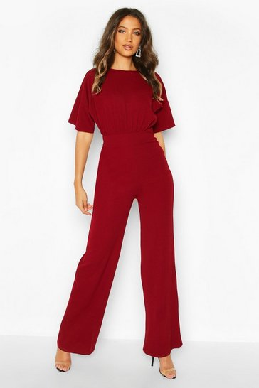 Womens Berry Tall Angel Sleeve Wide Leg Jumpsuit