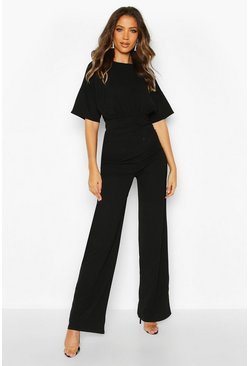 Black Tall Angel Sleeve Wide Leg Jumpsuit