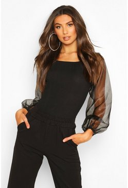 Tall Organza Mesh Puff Sleeve Bodysuit, Black