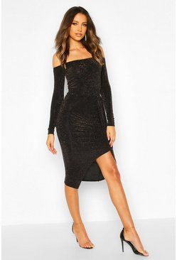 Tall Shimmer Bardot Thigh Split Midi Dress, Gold, FEMMES
