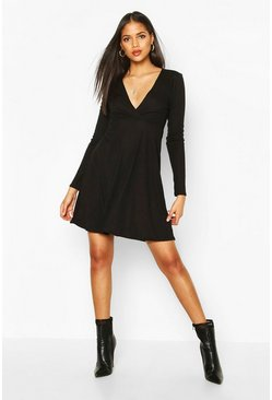 Tall Wrap Rib Skater Dress, Black, DAMEN