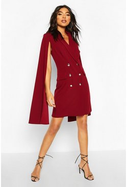 Berry Tall Double Breasted Cape Blazer Dress