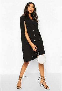 Black Tall Double Breasted Cape Blazer Dress