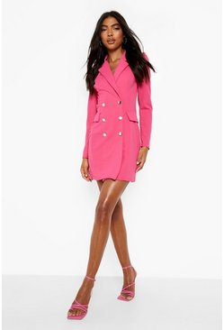 Tall Puff Sleeve Blazer Dress, Fuchsia